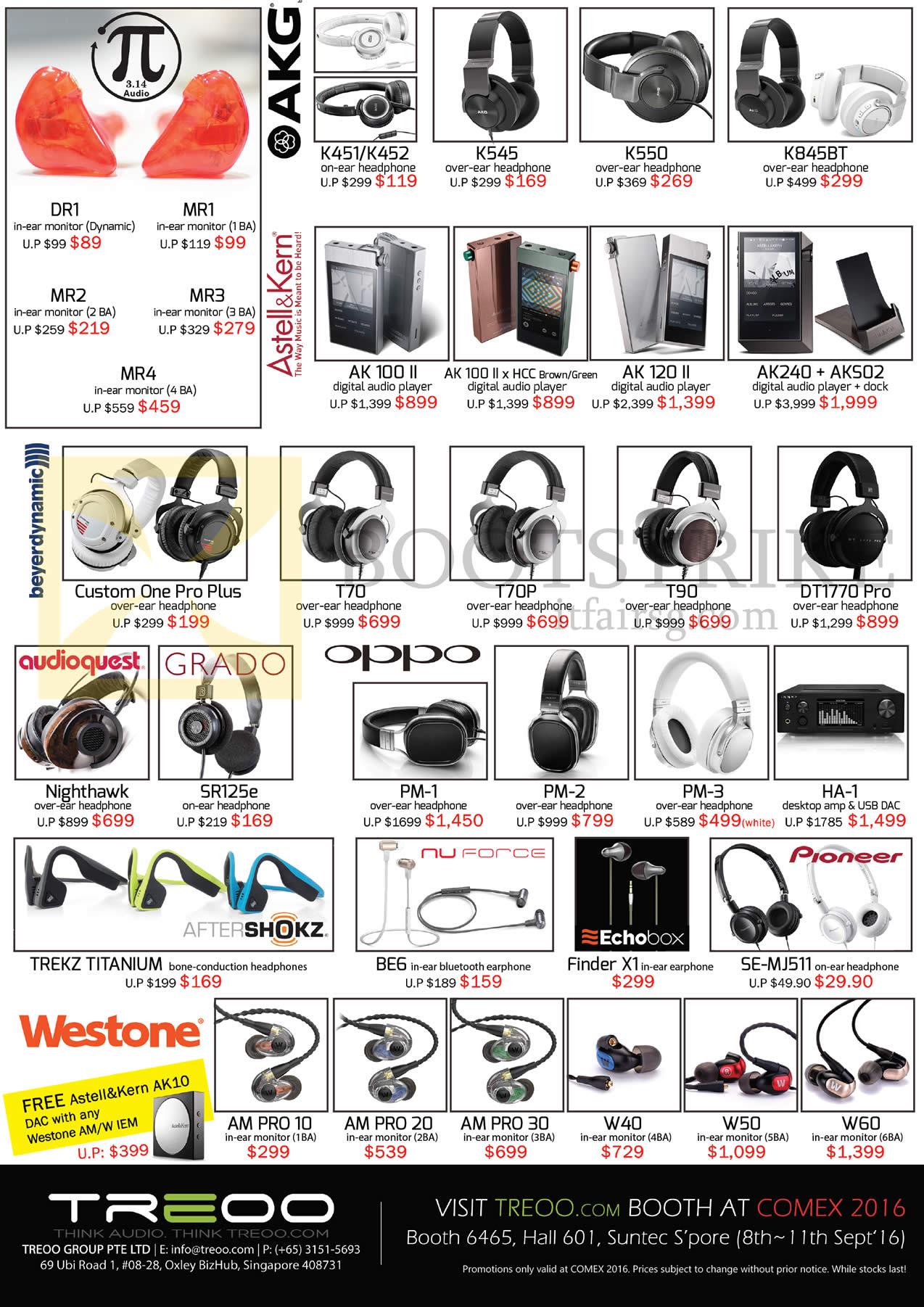 COMEX 2016 price list image brochure of Treoo Headphones, Earphones, AKG, Astell N Kern, Beyerdynamic, Audioquest, Oppo, Westone, Pioneer, Nuforce, K451, AK120 II, DT1770Pro, Nighthawk, PM-1, Trekz Titanium, BE6