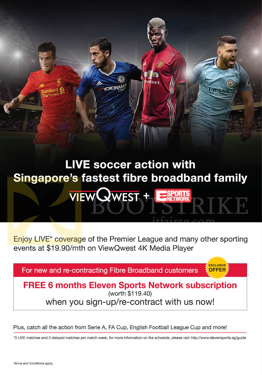 COMEX 2016 price list image brochure of ViewQwest Free 6 Months Eleven Sports Network Subscription