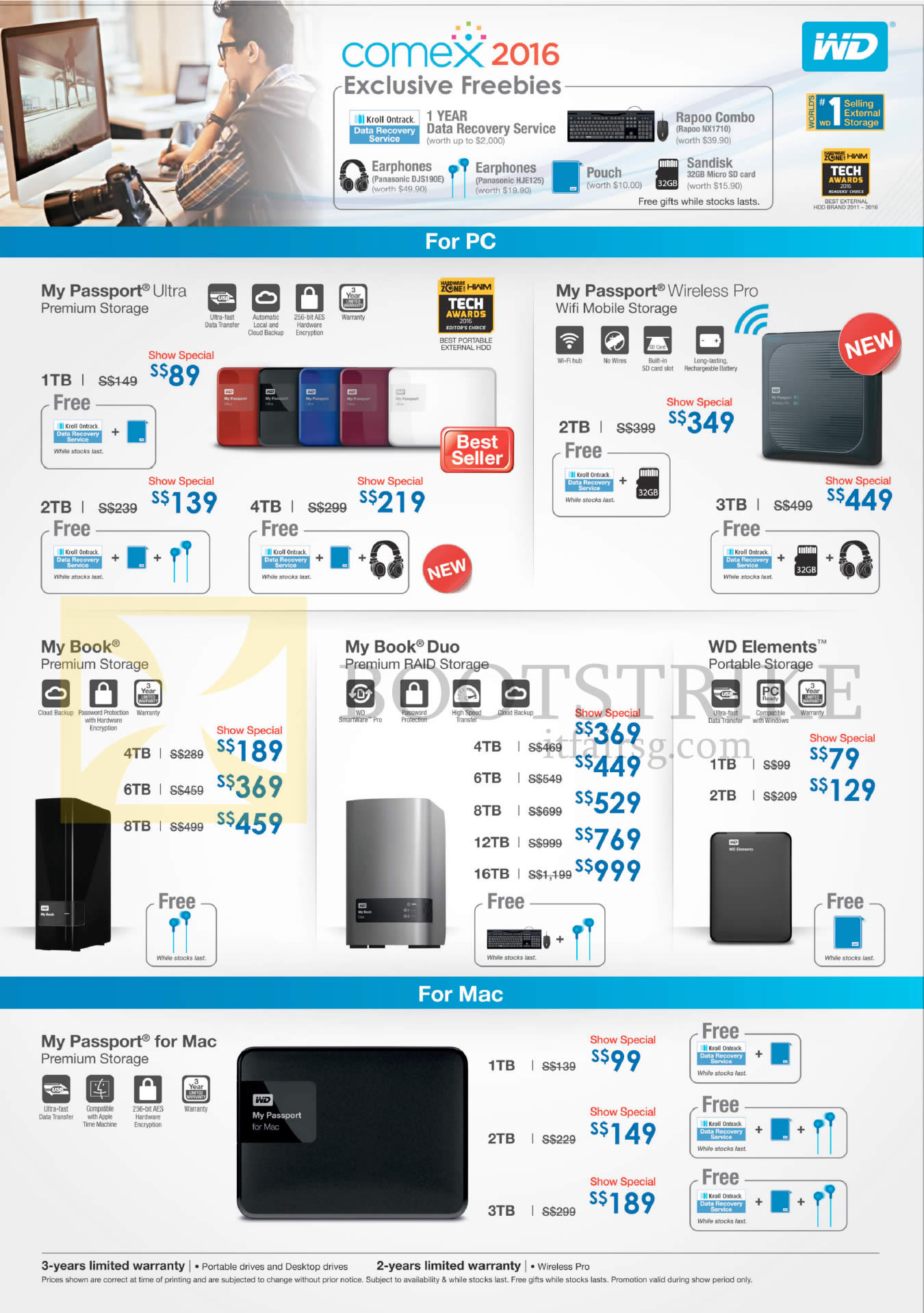 COMEX 2016 price list image brochure of Western Digital Hard Disk Drives My Passport, Wireless Pro, My Book, Duo, WD Elements, My Passport For Mac