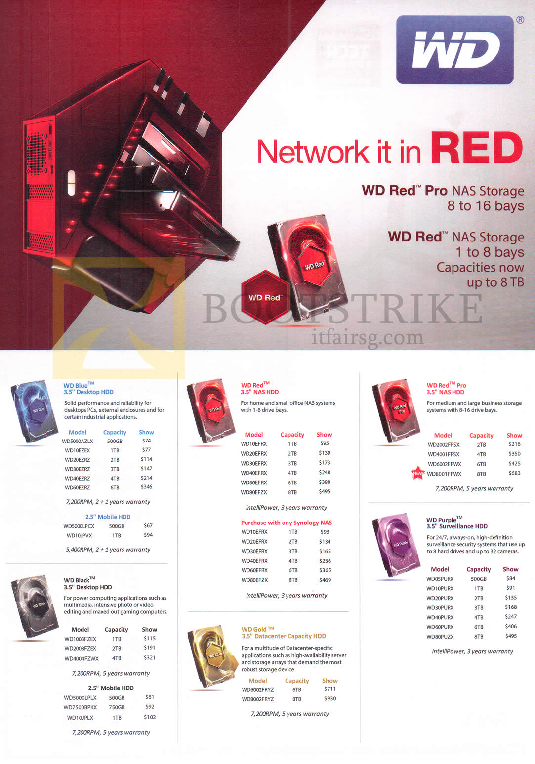 COMEX 2016 price list image brochure of Western Digital WD Hard Disk Internal NAS Storage Blue, Red, Red Pro, Black, Gold, Purple, 500GB, 750GB, 1TB, 2TB, 3TB, 4TB, 6TB, 8TB