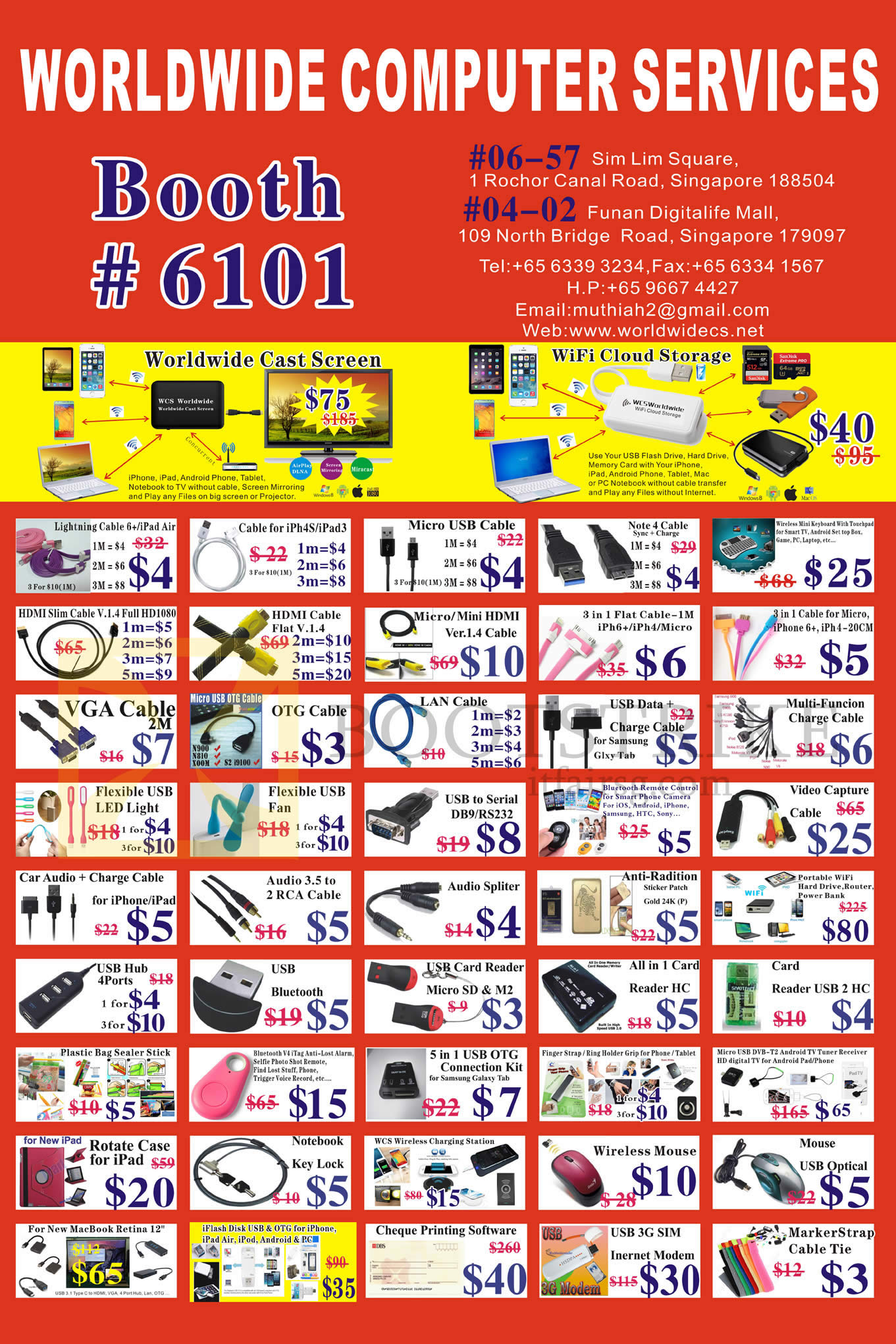 COMEX 2016 price list image brochure of Worldwide Computer Accessories Cable, Case, USB, Fan, LED Light, Adapter, Mouse, 3G Modem