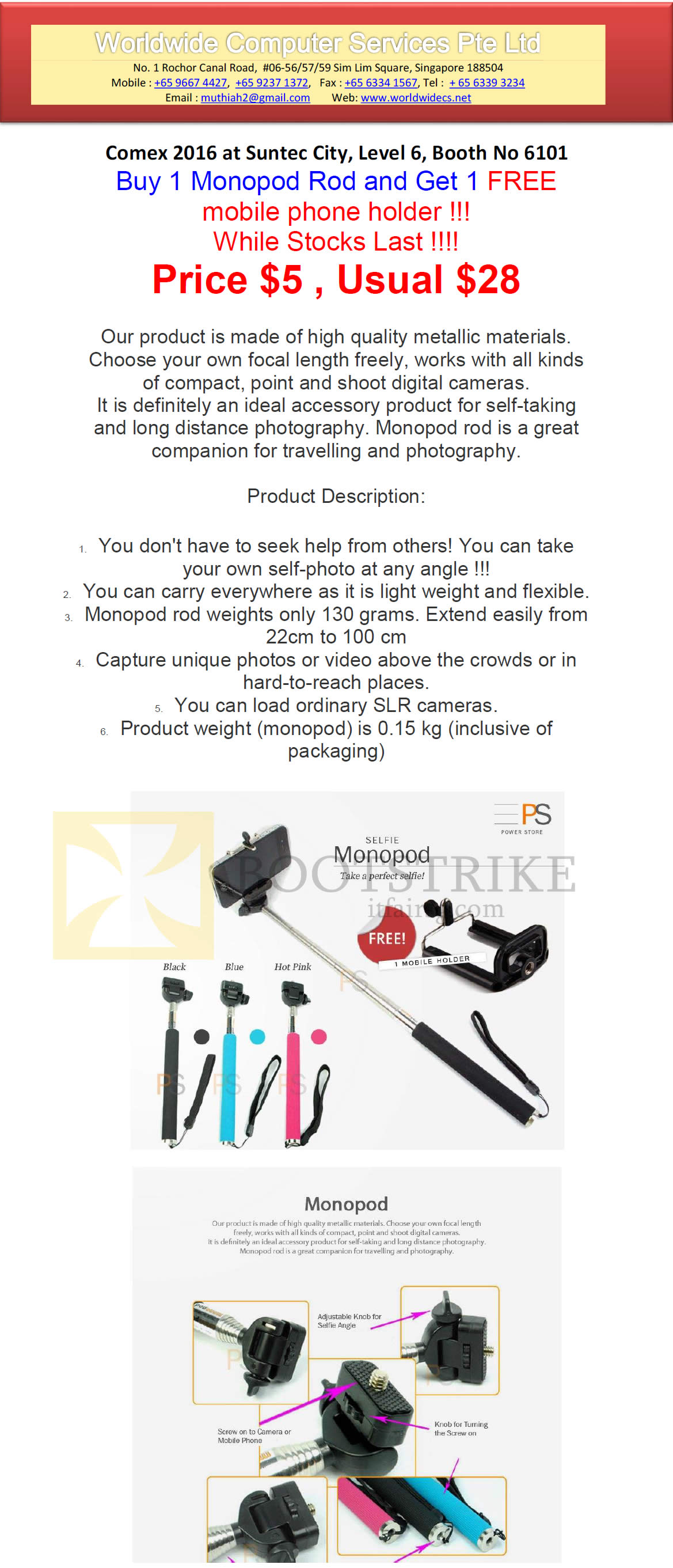 COMEX 2016 price list image brochure of Worldwide Computer Mobile Phone Holder Monopod Rod
