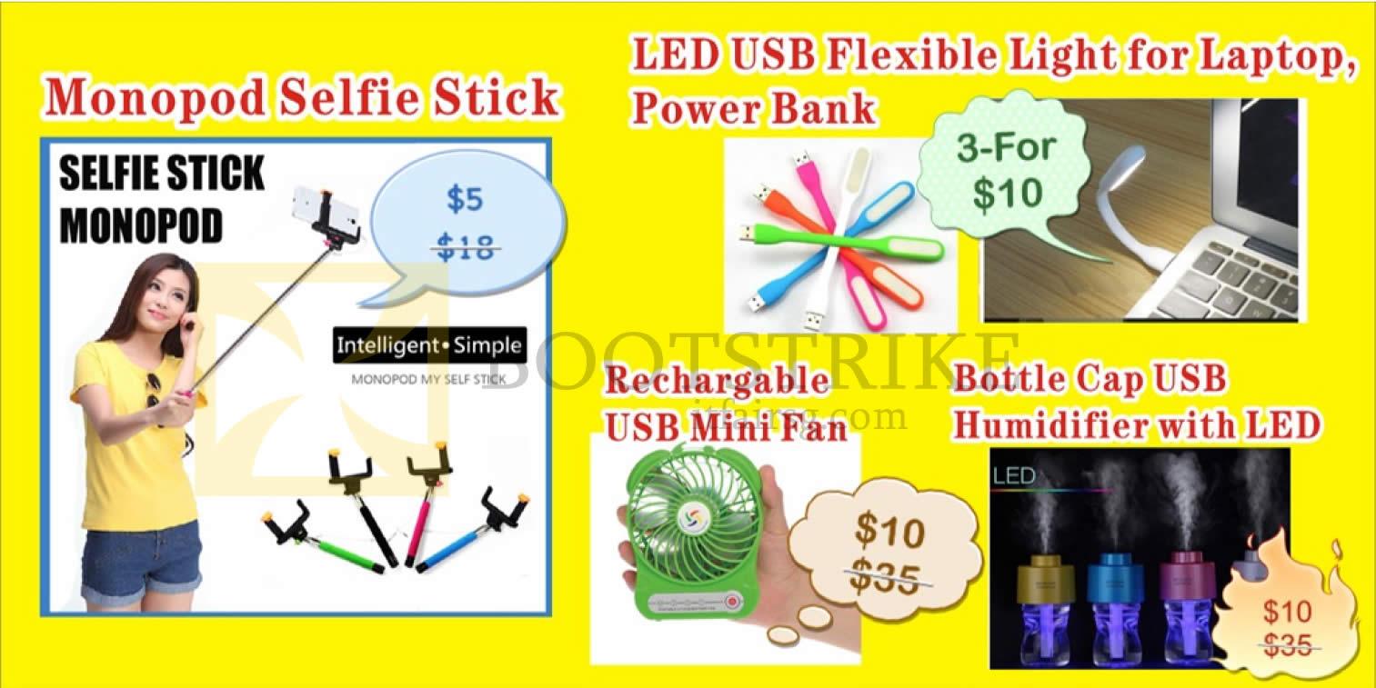 COMEX 2016 price list image brochure of Worldwide Computer Monopod Selfie Stick, LED Flexible Light, USB Mini Fan, Humidifier