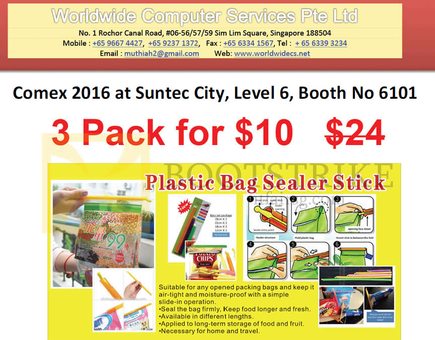 COMEX 2016 price list image brochure of Worldwide Computer Plastic Bag Sealer Stick