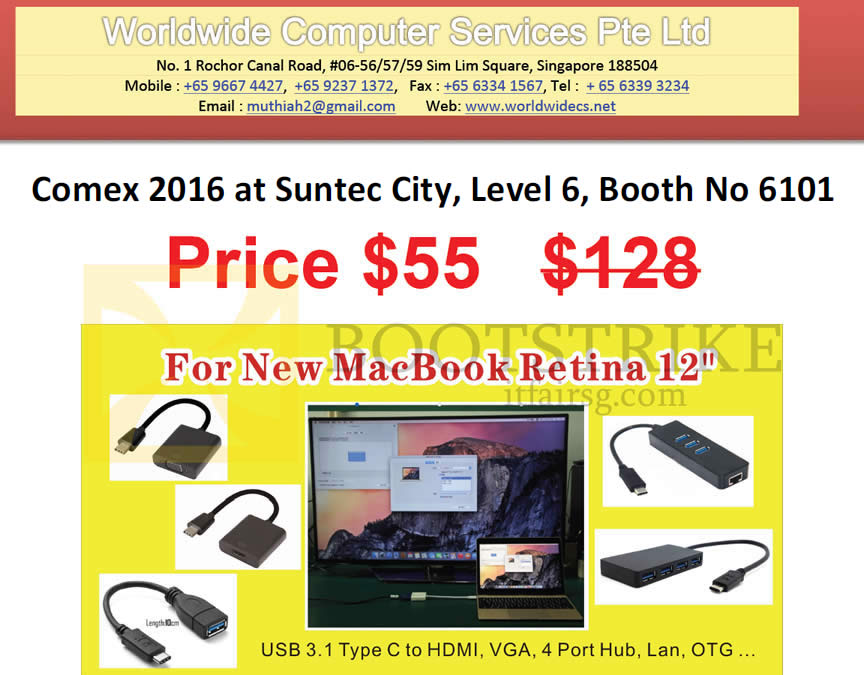 COMEX 2016 price list image brochure of Worldwide Computer USB Type C To HDMI