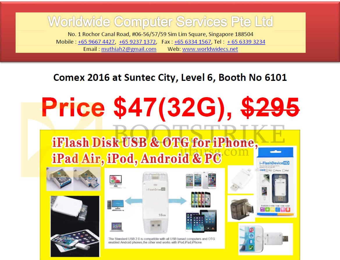COMEX 2016 price list image brochure of Worldwide Computer IFlash Disk USB, OTG For IPhone, IPad