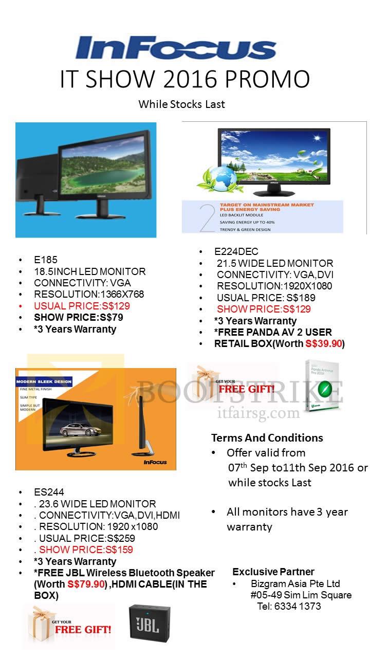 COMEX 2016 price list image brochure of Worldwide Computers Infocus Monitors E185, E224DEC, ES244