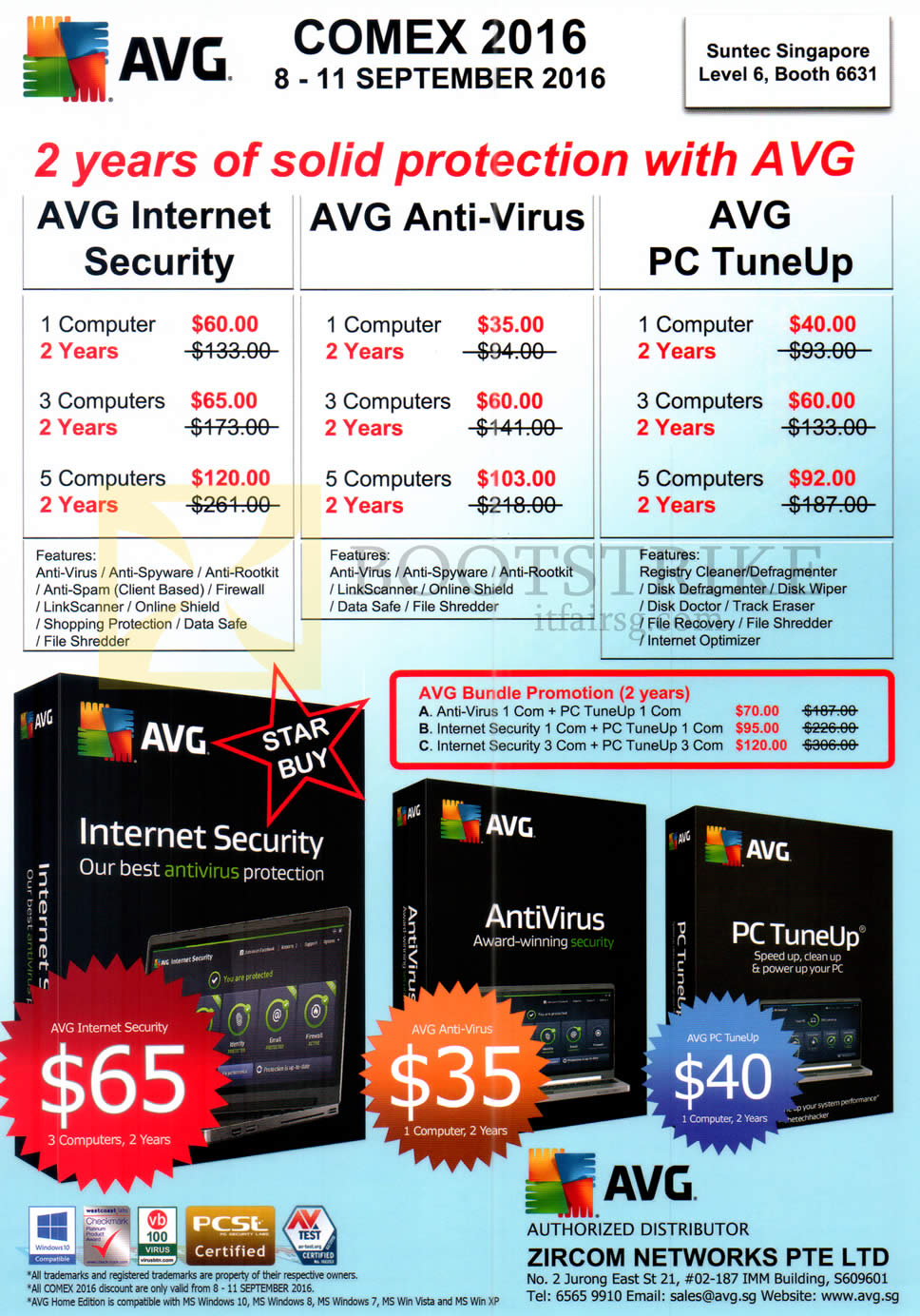 COMEX 2016 price list image brochure of Zircom Networks AVG Internet Security, Anti-Virus, PC TuneUp, Bundle Promotions