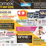 COMEX 2016 Event Details, Venue, Opening Hours, Trade-in, Booth Babes Selfie, Gamex, Tech Showcase, Services