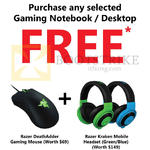 Free Gifts With Selected Gaming Notebooks, Desktops