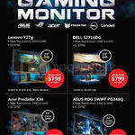 Gaming Monitors Lenovo Y27G, Dell S2716DG, Acer PRedator X34, Asus ROG Swift PF348Q