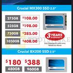 Crucial SSDs MX300, BX200, 275GB, 480GB, 525GB, 750GB, 960GB, 1050GB