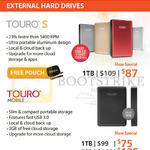 HGST External Hard Drives Touro S, Touro Mobile, 1TB, 2TB, 3TB