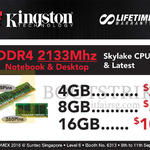 Kingston DDR4 2133MHz 4GB, 8GB, 16GB