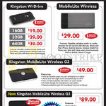 Kingston External Storage Wi-Drive, MobileLite, Wireless, G2, G3, 16GB, 32GB, 64GB