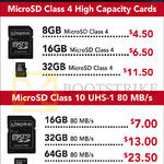 Kingston MicroSD Class 4, Class 10, 8GB, 16GB, 32GB, 64GB, 128GB