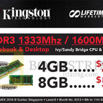 Kingston RAM Memory DDR3 4GB, 8GB