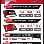 Kingston SSDs SSDNow V300, HyperX Savage, Fury, Predator, 120GB, 240GB, 480GB