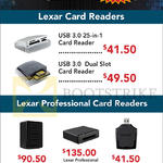 Lexar, Professional Card Readers, USB 3.0 25 In 1, 3.0 Dual Slot, 4 Bay USB 3.0, Professional Cfast 2.0 Thunderbolt, USB 3.0 XQD Reader