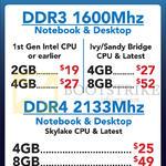 Memory RAM Crucial DDR3, DDR4, 2GB, 4GB, 8GB, 16GB