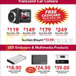 Transcend Car Cameras, Enclosure, Multimedia Products, DrivePro 100, 200, 220, 520, Extra Slim Portable DVD Writer