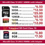 Transcend MicroSD, SD Cards, Class 10 UHS-1, UHS-3, 4GB, 8GB, 16GB, 32GB, 64GB, 128GB
