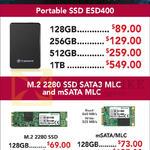 Transcend Portable SSD ESD400, M2 2280 SSD SATA3 MLc, MSATA MLC 128GB, 256GB, 512GB, 1TB