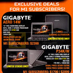 M1 Gamex Deals Subscribers Notebooks Gigabyte, Aero 14W, P34K, W
