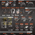 Steelseries Headphones, Mousepads, Mouse, Keyboards, Siberia 200, 840, 100, 150, 350, 650, 800, Stratus, Nimbus, Rival 95, 100, 300, 700, Apex 300, 350, M500, M800