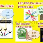 Worldwide Computer Monopod Selfie Stick, LED Flexible Light, USB Mini Fan, Humidifier