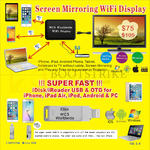 Worldwide Computer Screen Mirroring Wifi Display, IDisk, IReader For IPhone, IPad Air