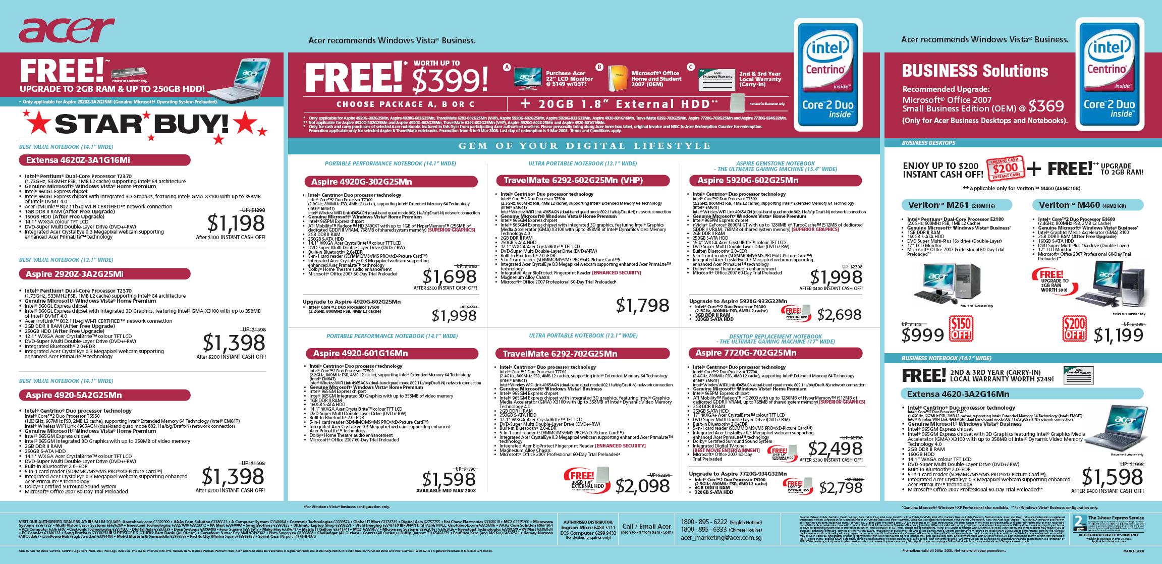 IT Show 2008 price list image brochure of Acer Notebooks Desktop Extensa 4620z Aspire 2920z 4920 TravelMate 6292 Veriton M261 M460