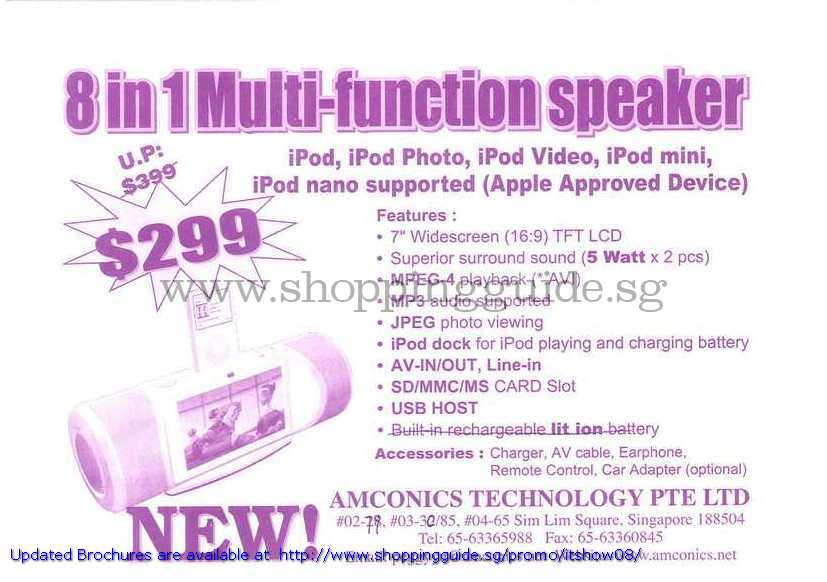 IT Show 2008 price list image brochure of Amconics 8 In 1 Multi Function Speaker IPod Dock