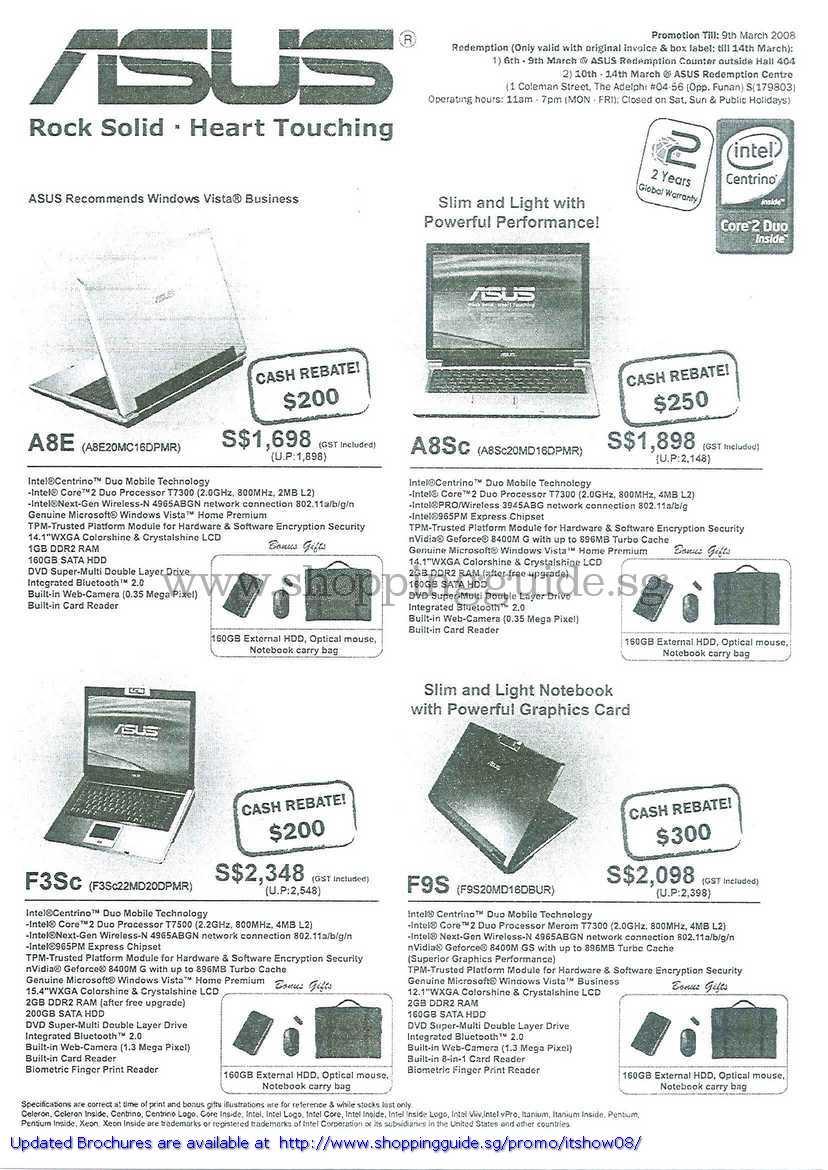 IT Show 2008 price list image brochure of Asus Notebooks A8E A8Sc F3Sc F9S