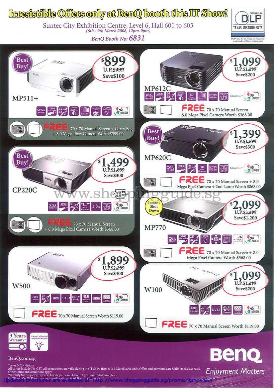 IT Show 2008 price list image brochure of BenQ Projectors MP511 MP612C MP620C MP770 CP220C W100 W500
