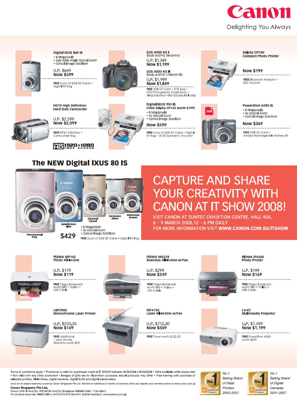 IT Show 2008 price list image brochure of Canon Digital Cameras Camcorders Ixus PowerShot Pixma Printers Inkjet Laser Photo