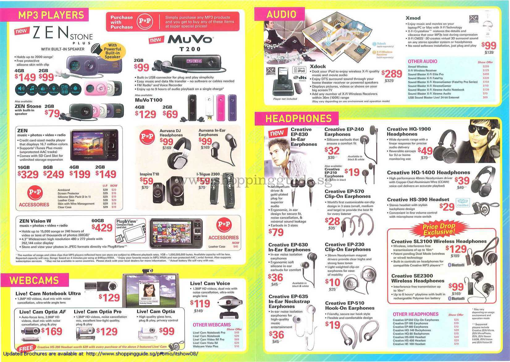 IT Show 2008 price list image brochure of Creative Mp3 Zen Stone Muvo Vision Live Cam Optia Xmod Xdock Earphones Headphones