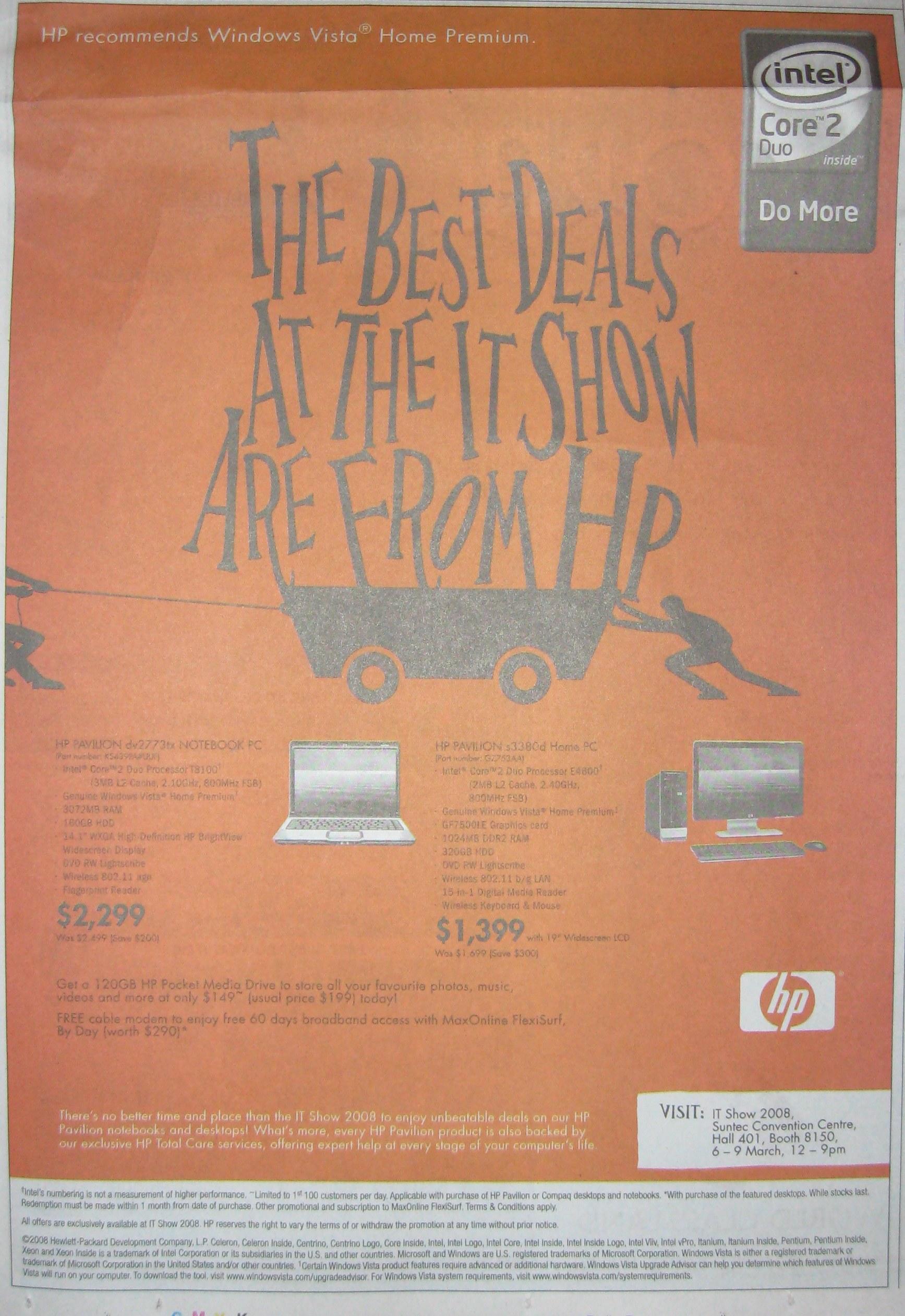 IT Show 2008 price list image brochure of HP Pavilion Notebook Dv2773tx S3380d Desktop PC
