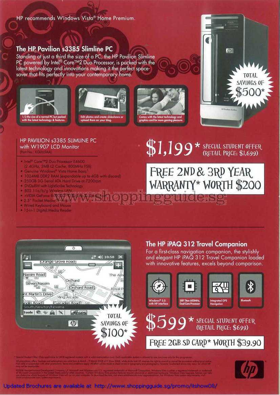 IT Show 2008 price list image brochure of HP Pavilion S3385 Slimline PC IPAQ 312 Travel Companion