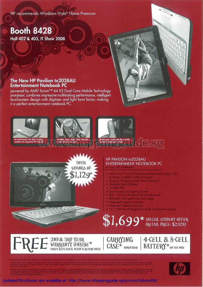 IT Show 2008 price list image brochure of HP Pavilion Tx2028au Entertainment Notebook PC