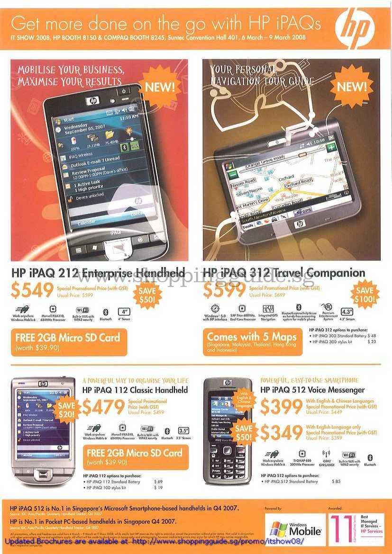 IT Show 2008 price list image brochure of HP IPAQ 212 Enterprise 312 Travel Companion 112 Classic 512 Voice Messenger