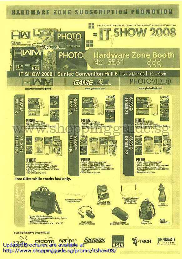 IT Show 2008 price list image brochure of Hardware Zone Subscription HWM GameAxis PhotoVideo