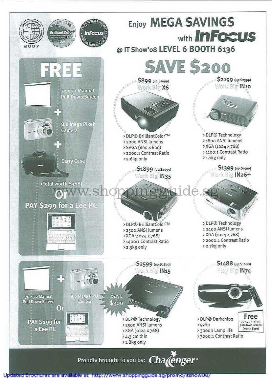 IT Show 2008 price list image brochure of Infocus Projectors X6 IN10 IN35 IN26 IN15 IN74