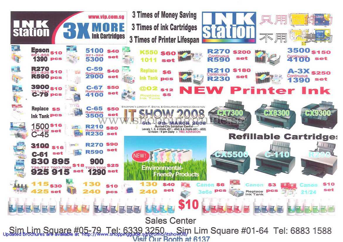 IT Show 2008 price list image brochure of Ink Station Printer Ink Refillable Cartridge Epson