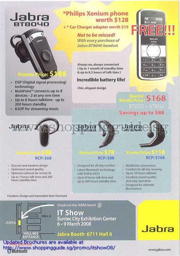 IT Show 2008 price list image brochure of Jabra Bluetooth Headset BT8040 BT2010 BT2020 BT5020