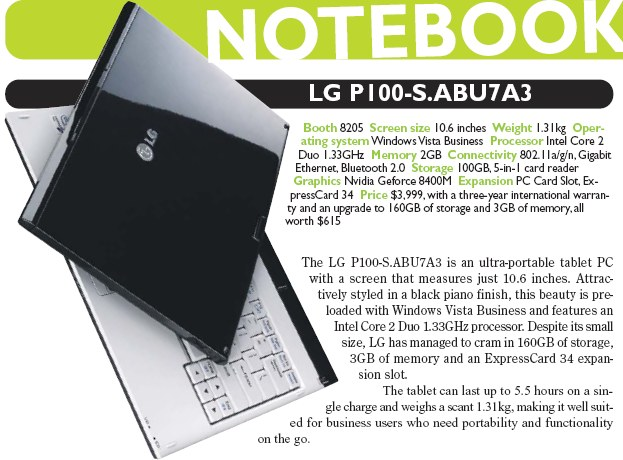 IT Show 2008 price list image brochure of LG P100 S ABU7A3 Notebook