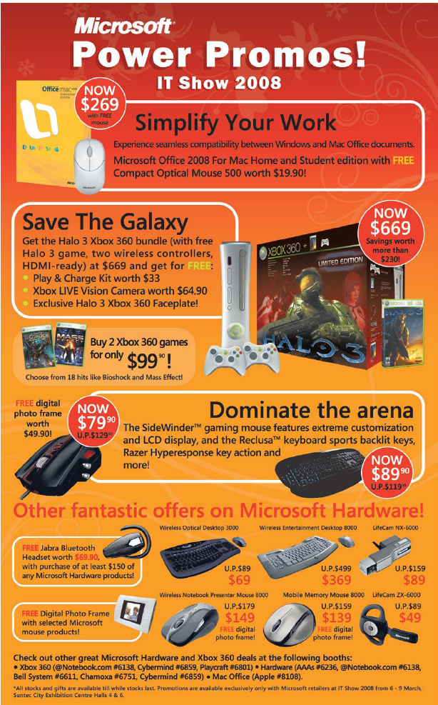 IT Show 2008 price list image brochure of Microsoft Office 2008 Mac Halo 3 Xbox 360 Sidewinder Keyboard Mouse LifeCam