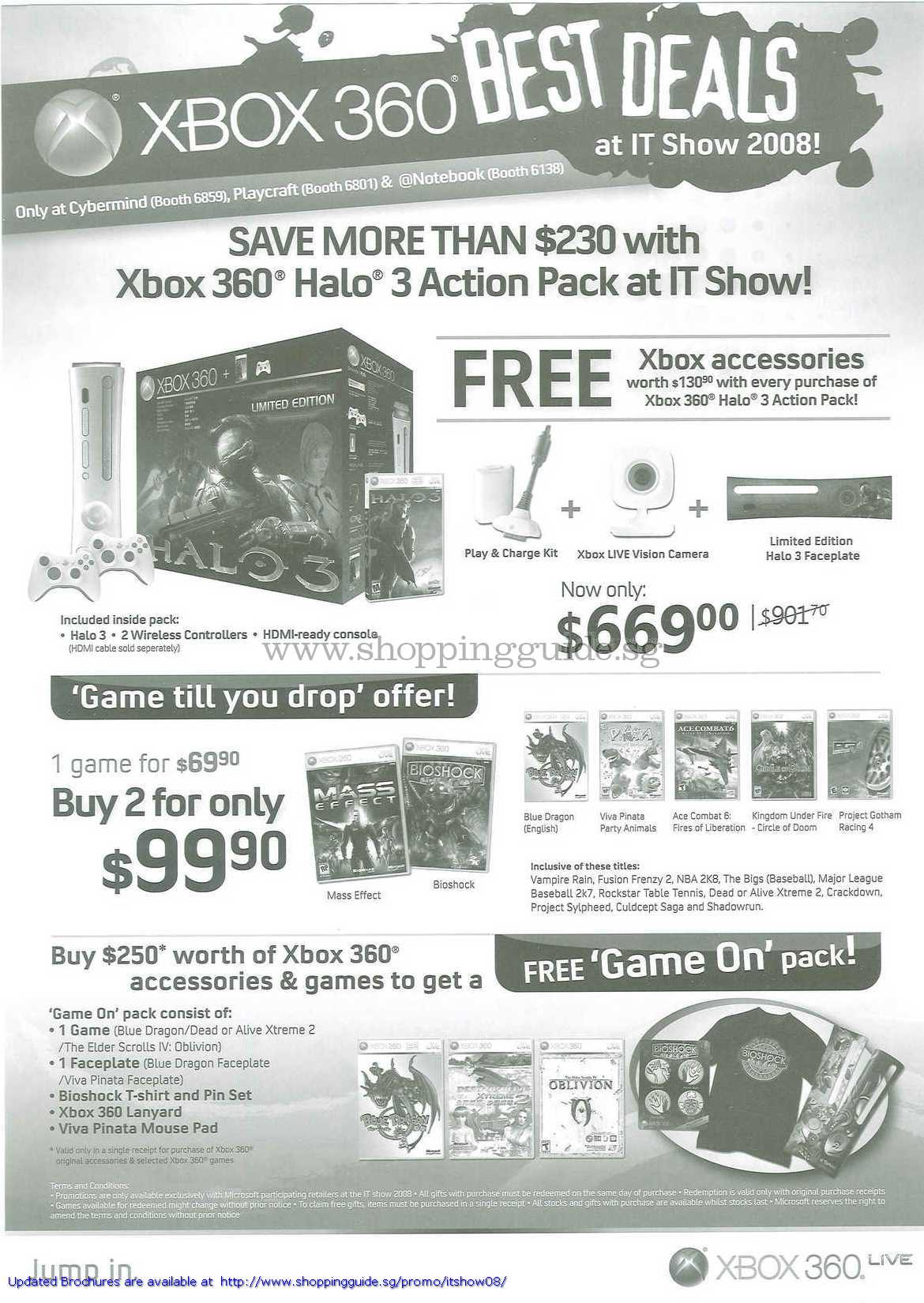 IT Show 2008 price list image brochure of Microsoft XBox 360 Halo 3 Games Cybermind