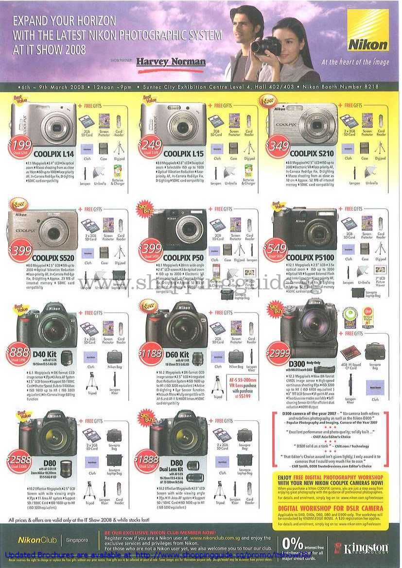 IT Show 2008 price list image brochure of Nikon Coolpix Digital Cameras L14 L15 S210 S520 P50 P5100 D40 D60 D300 D80