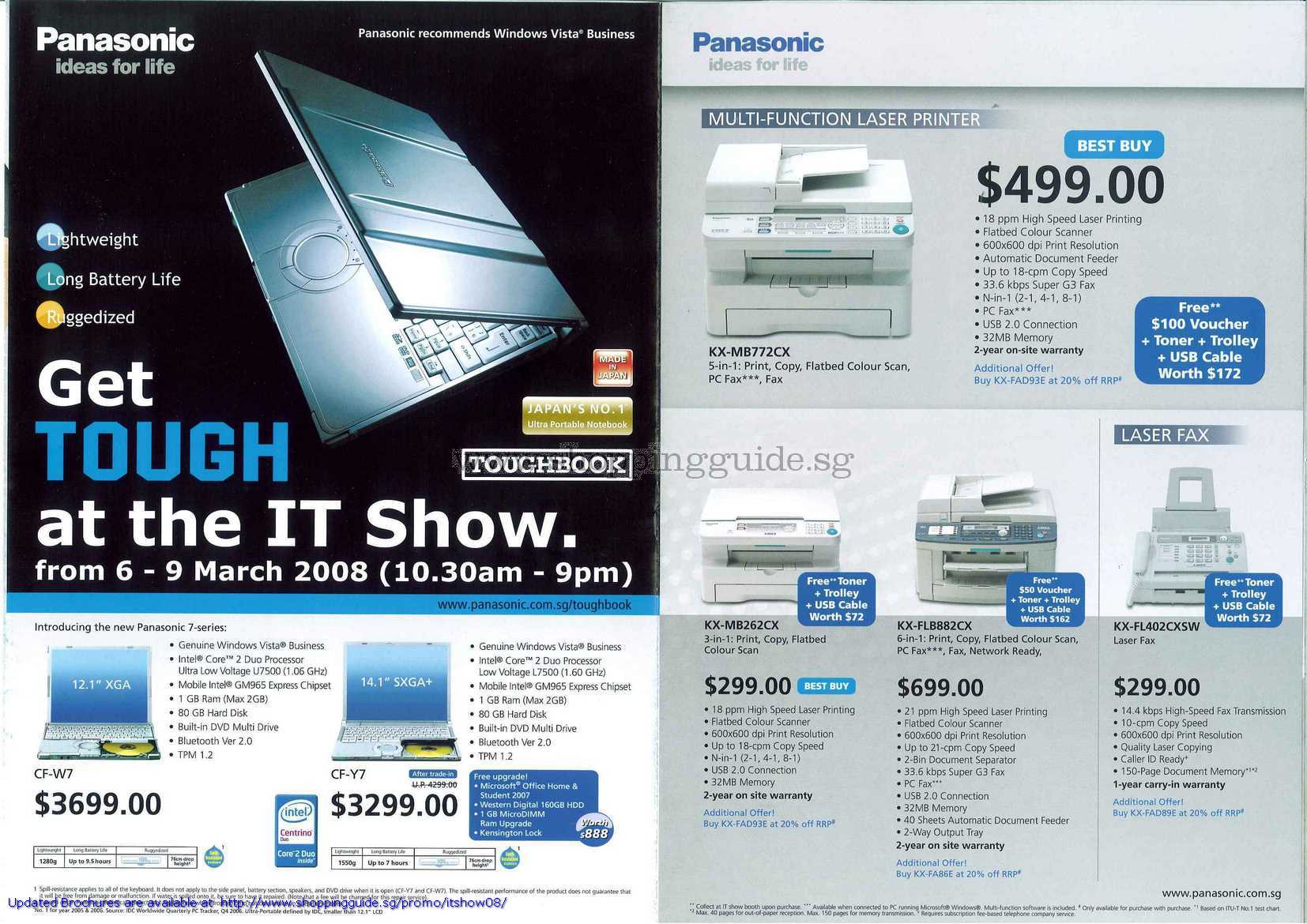 IT Show 2008 price list image brochure of Panasonic Notebooks Toughbook CF W7 Y7 Laser Printer Fax KX